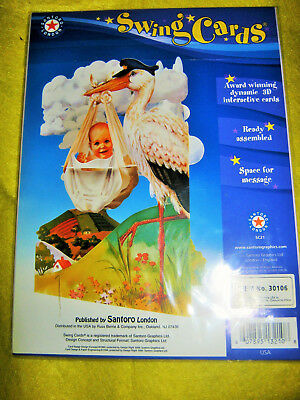 Santoro London Interactive 3D Swing Cards (Sc21) Baby Arrival Stork