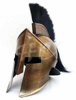 New Halloween Greek Corinthian Helmet Brass Antique Plume Black Medieval Knight