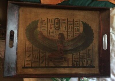 Vintage Ancient Egyptian Mother Goddess Isis W/Wings Open Wood Serving Tray LG!