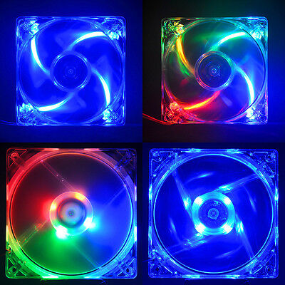 Colorful Quad 4-LED Light Neon Quite Clear 80mm PC Computer Case Cooling Fan Mod