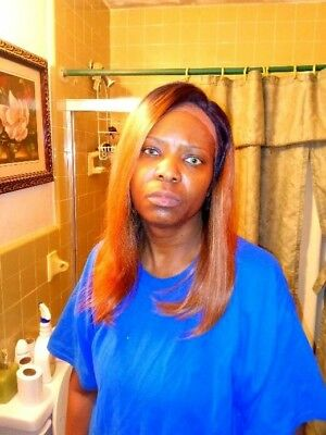 """Brazilian full lace wig  16"""""""" #1b/30 ombre human hair NEW"""