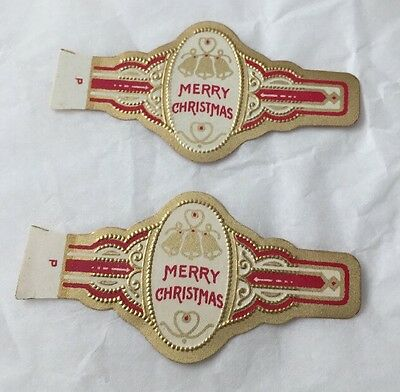 Lot of 2 Merry Christmas Cigar Band Labels