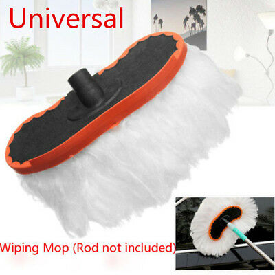 Milk Silk Car Wash Brush Soft Replace Mop Telescoping Handle Cleaning Hand Tool