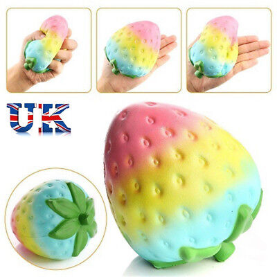 Simulation Rainbow Strawberry Super Jumbo Scented Squishy Slow Rising Fun Toy L1