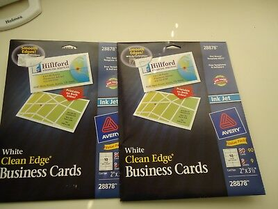 Avery 28878 Ink Jet White Clean Edge Business cards two packs 160 cards