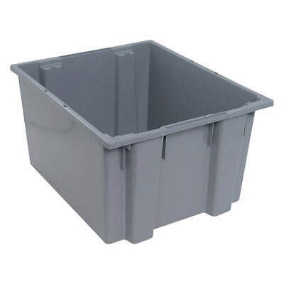 QUANTUM STORAGE SYSTEMS Nest and Stack Container,23-1/2 in,Gray, SNT230GY, Gray