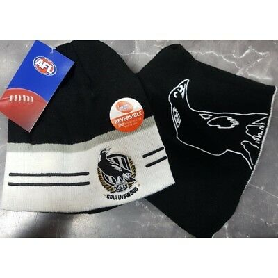 Collingwood Magpies Official AFL Mens Supporter Reversible Beanie