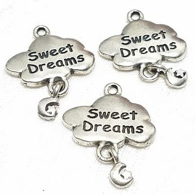 SWEET DREAMS CLOUD WITH DANGLE MOON & STAR FINE PEWTER PENDANT CHARM - 19x21x2mm