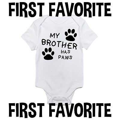94f180e2b My Brother Has Paws Baby Onesie Shirt Shower Gift Dog Cat Newborn Clothes  Gerber