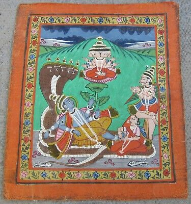 Vishnu Lying On The Coils Of The Serpent Shesha  Antique 19Thc Indian Painting