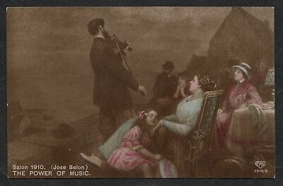 e1157)    EARLY 1900's  POSTCARD BY E.A. SCHWERDTFEGER -   THE POWER OF MUSIC