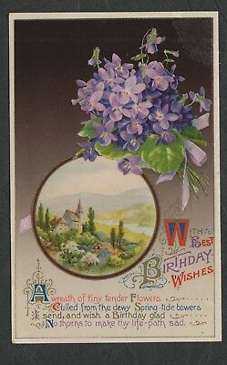e2206)    EARLY 1900's GREETINGS POSTCARD  - WITH BEST BIRTHDAY WISHES
