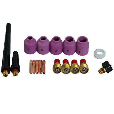 TIG Kit Alumina Nozzle Gas Lens Collet Body Fit WP 9 20 25 TIG Welder Torch 18PK