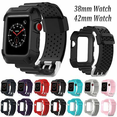 TPE Watch Band Strap Bracelet w/Case Cover For Apple Watch Series 3 2 1 38/42mm