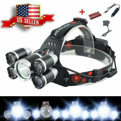 5000LM LED Rechargeable Headlight Head Lamp + 2Pcs 18650 Battery + 2 Charger USA