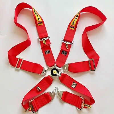 Universal Sabelt Red 4 Point Camlock Quick Release Racing Seat Belt Harness #01
