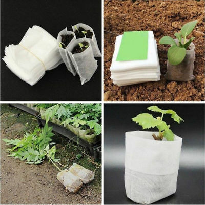 100pc Vegetable Plant Grow Bags Pot Fabric Pouch Garden Nursery Seed Raising Bag