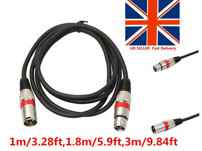 XLR 3Pin Male to Female 1m/1.8m/3m Audio Balanced Cord Cable for Microphone LOT