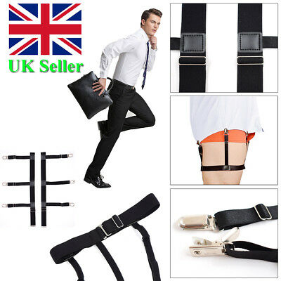 Mens T Shirt Stays Suspender Leg Holders Elastic Garter Non-slip Locking Clamps