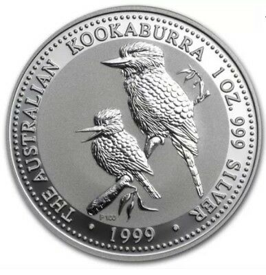 1999 1oz Australian Kookaburra Silver Bullion Perth Mint Coin In Capsule