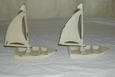 Lot Of 2 Vintage Cast Iron Sailing Nautical Sea  Sail Boat Door Stop Bookends