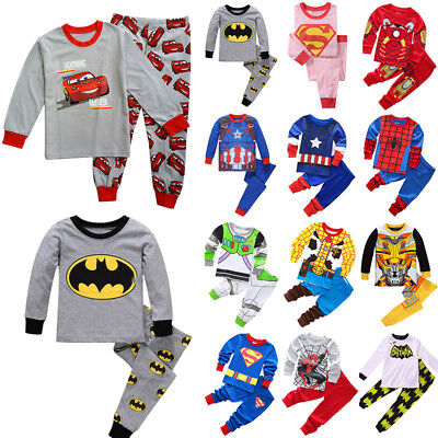 Avengers Superhero Batman Pajamas Set Kids Boys Girls Sleepwear Nightwear Outfit
