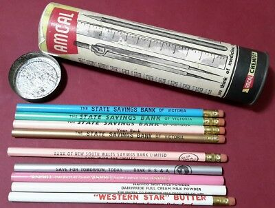 Vintage Promo Pencils Unused State E S & A Bank NSW Aspro Western Star Butter
