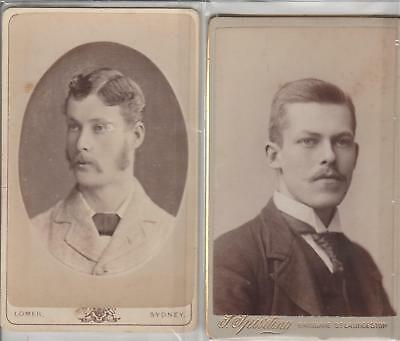 PHOTOS CDVs ''J SPURLING THE 2ND 1878 launceston  & ALBERT LOMER sydney 1885circ