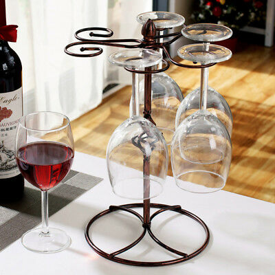 Retro Wine Glass Rack Champagne Stemware Drying Hanging Stand Holder Organizer