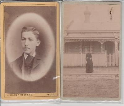 PHOTOS CDVs J BISHOP OSBORNE hobart town 1879 & H LLOYD  PRARHAN MELB 1888 rare