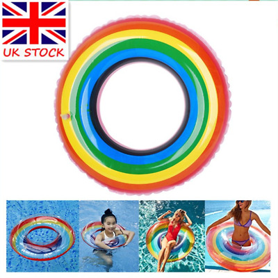 Uk All Size Inflatable Rainbow Color Pool Float Ring Circle Raft Swimming Ring