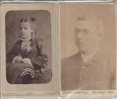 PHOTOS CDVs ''SCOTT-BARRY adelaide 1895 & ''GEO RICHARDS'' ballarat 1886