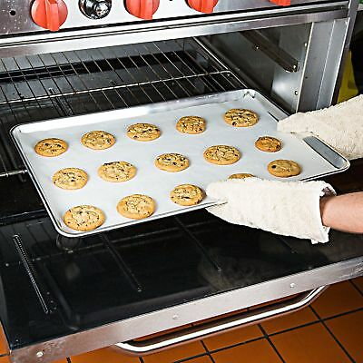 """12 Pack Full Size 18"""" x 26"""" Commercial Aluminum Bun Sheet Pan - Wire in Rim"""