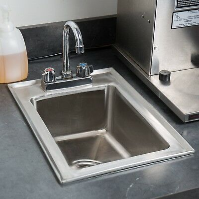 """Stainless Steel NSF One Compartment Drop-In Sink with 8"""" Faucet 10"""" x 14"""" x 5"""""""