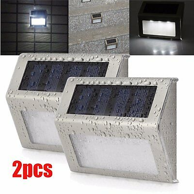 2X Solar Powered Wall Mount LED Outdoor Garden Light Stair Step Safely Lamp UH