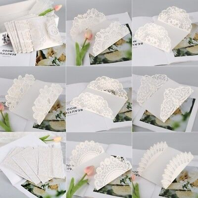 Romantic Floral Lace Wedding Invitation Card Party White Laser Cut Card Kits 10p