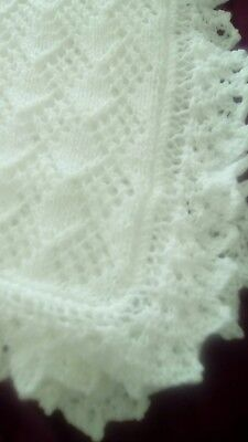 NEW HAND KNITTED 4 PLY WHITE BABY SHAWL (pattern 4)