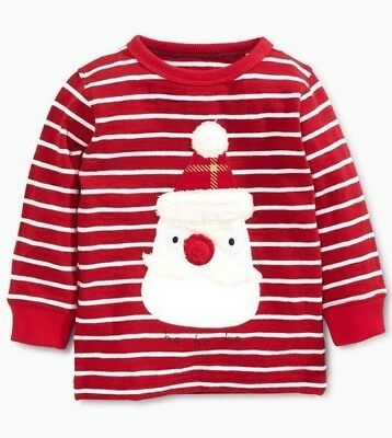 Ex Store Baby Boys Red Santa Stripe Christmas Xmas Top  Age 3/6 6/9 Months NEW