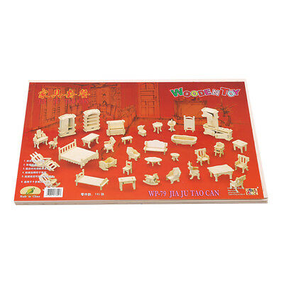 Wooden 3D Jigsaw Puzzle DIY Scale Miniature Models Doll House Dollhouse Set one