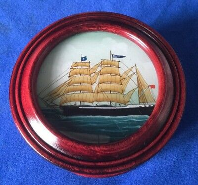 Vintage Wooden Hand Painted Sailing Ship Galleon Pot Box - Treen - Maritime