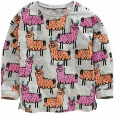 Ex Store Baby Girls LLama Zoo Animal Print Pink Grey Top Age 18/24 Mths