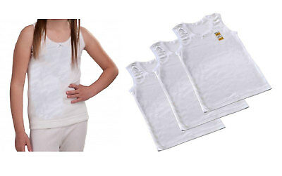 Girls 3 or 6, 12 Pack Plain White 100% Soft Cotton Vests Age 2-13