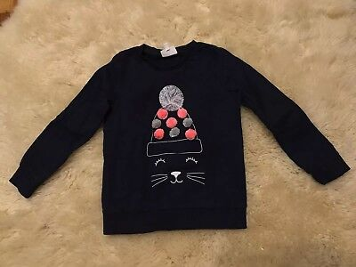 SEED Girl Size 5-6 Windcheater Top Jumper Kitty Cat Pompom