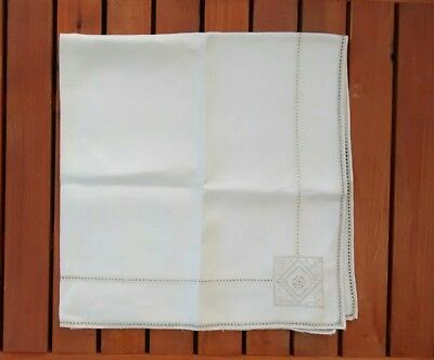 Vintage Square Linen Ivory Embroidered Cutwork Tablecloth