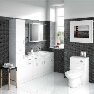 High Gloss White Bathroom Vanity Basin Cabinet Laundry Cupboard BTW Toilet Suite