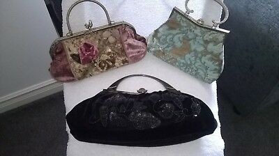 Vintage Handbag Collection, Black, Turquoise and Dusky Pink in great condition.