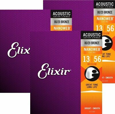 3 sets  Elixir Nanoweb 13 - 56  - 80/20 Bronze Acoustic Guitar Strings - 11102
