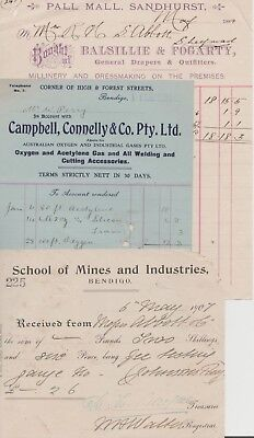 BENDIGO invoices BALSILLIE & FOGARTY & CAMBPBELL CONNELLY & SCHOOL OF MINES 1907