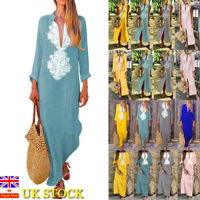 Women Floral Long Sleeve Maxi Long Dress Kaftan Ladies Holiday Party Baggy Dress