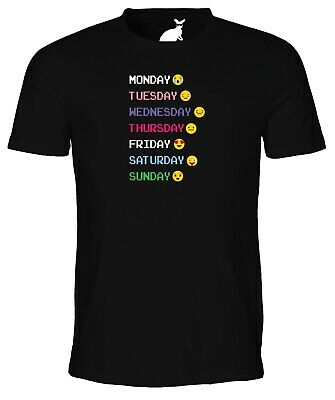 Days of the Week Emoji MENS T SHIRT retro party festival drinking funny emojis